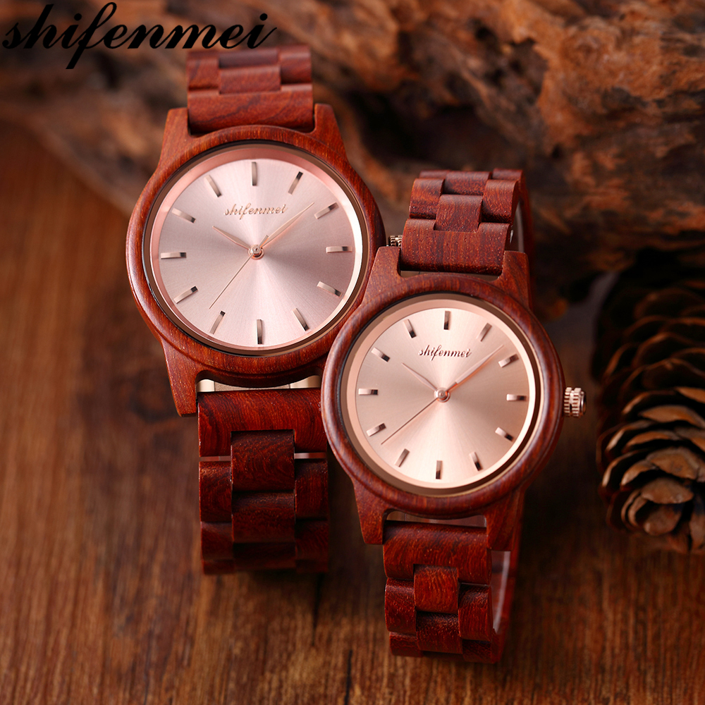 Shifenmei Wooden Couple Watch Zebra Wood Rosewood Quartz Watch Send Lover Gift Valentine's Day Gift Anniversary Holiday Gift