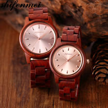 Shifenmei wooden couple watch Zebra wood rosewood quartz
