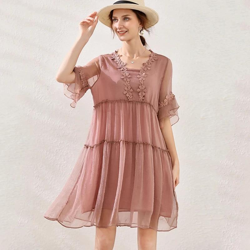 Summer Ladies Plus Size Loose Fit Embroidery Dress Crochet Elegant Cute Flare Dress Chiffon Midi Beach Dress Ruffled Vestidos4xl Dresses Aliexpress
