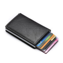 Aluminium Metal Credit Business Mini Card Wallet 2020 Dropshipping Man Vrouwen Smart Wallet Visitekaarthouder Hasp Rfid Portemonnee(China)