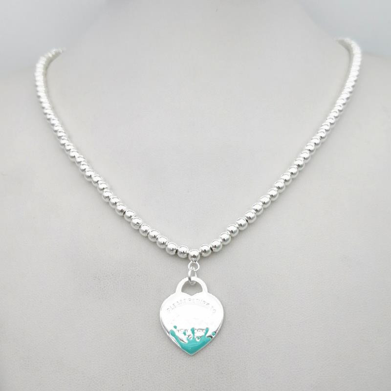 1: 1 Sterling Silver 925 Classic Exclusive Blue Splash Enamel Heart-shaped Lady 4mm Round Bead Necklace Jewelry
