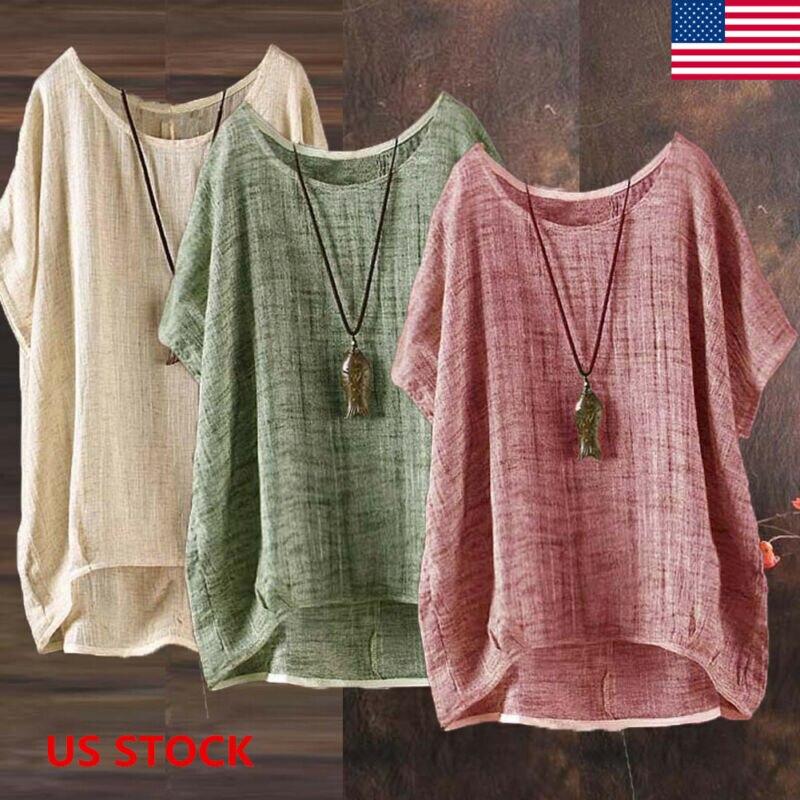 2020 Women's Cotton Blouse Stylish Casual Tops Long Sleeve Shirts Female O Neck Blusas Oversized Woman Linen Tunic M-2XL
