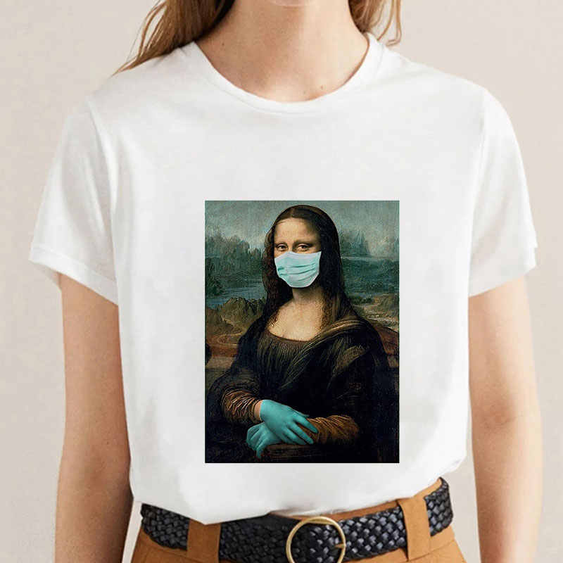 T-shirt da donna divertente Mona Lisa Spoof Summer Fashion casual manica corta estetica T-shirt da donna Tumblr Tshirt Vogue Summer 2020