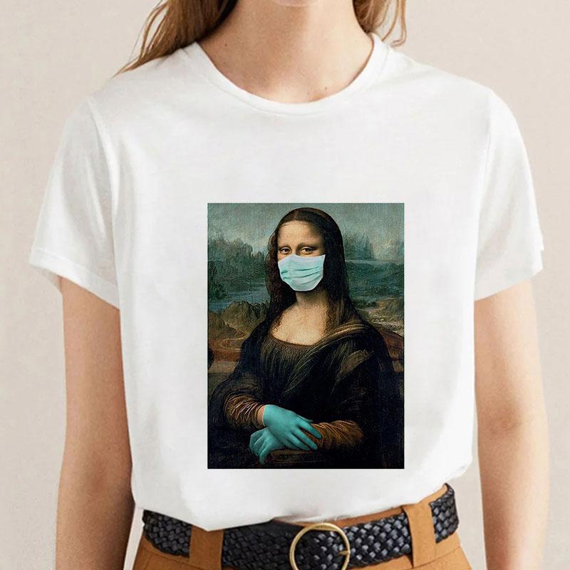 Mona Lisa Funny Women T Shirt Spoof Summer Fashion Casual Short Sleeve Aesthetic Female T-shirt Tumblr Tshirt Vogue Summer 2020