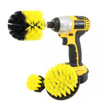 3Pcs/Set Electric Drill Brush Kit Plastic Round Cleaning For Carpet Glass Car Tires Nylon Brushes Power Scrubber NEW