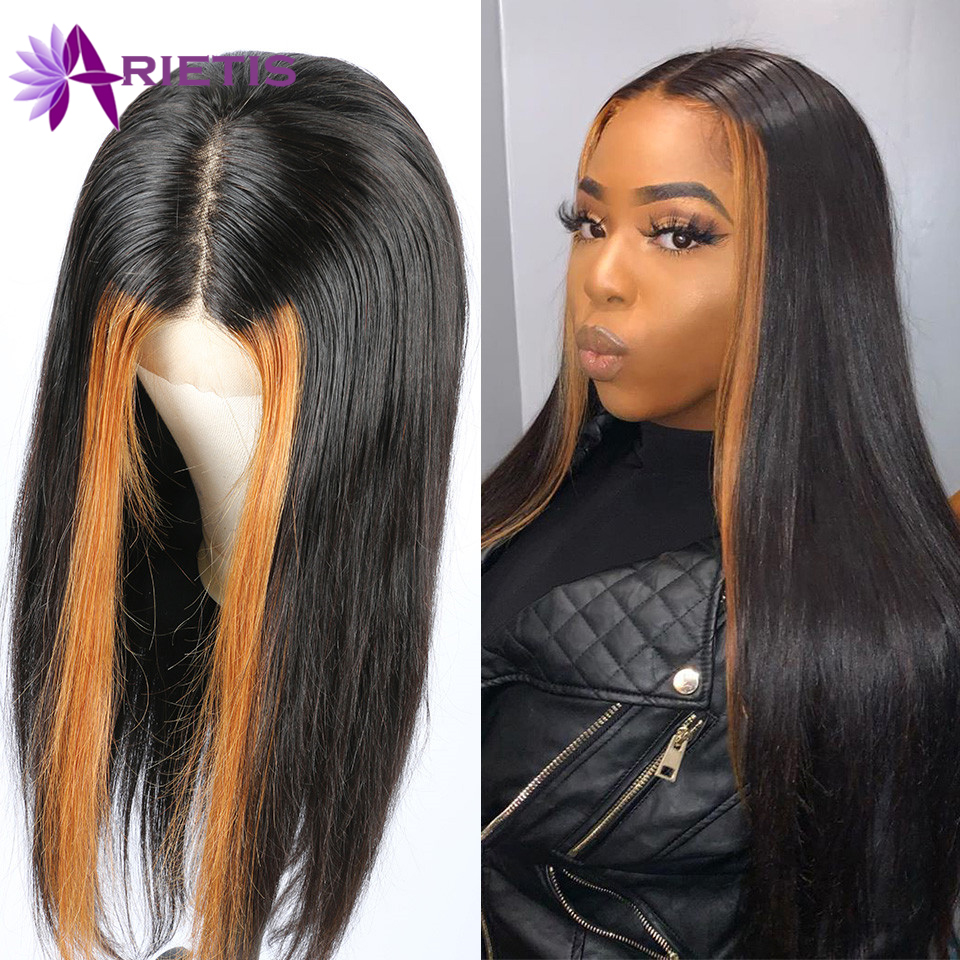 Arietis 13x4 Lace Front Wig For Women 1b/30 Highlight Lace Front Human Hair Wigs Brazilian Straight Lace Front Wig Highlight Wig