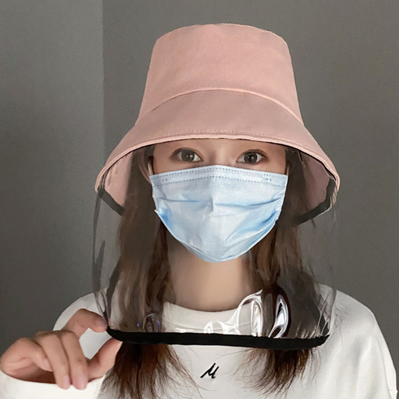 Women Girl Anti-droplet Visor Shield Bucket Hat Face Protective Cover Sun Cap Hat Face Protective Cover Sun Cap Face Protecti