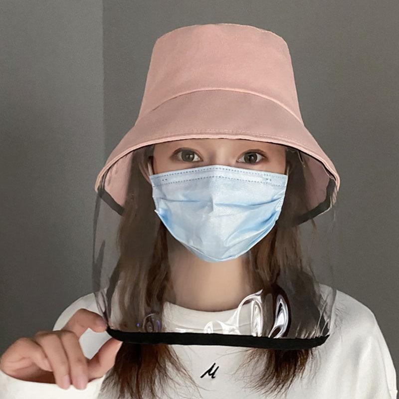 Women Girl Anti-droplet Visor Shield Bucket Hat Face Protective Cover Sun Cap Hat Face Protective Cover Sun Cap Face Protecti