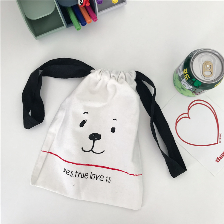 Ins Cute Puppy Simple Style Cosmetic Storage Bag Drawstring Student Kawaii Pencil Case Large Capacity Handbag Pen Bag Stationery