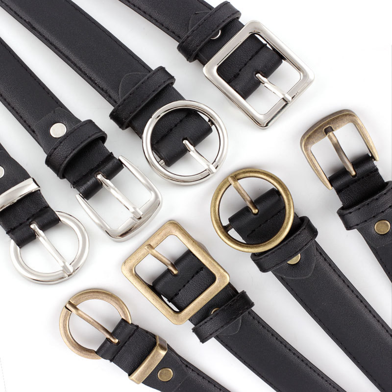 Women Black PU Leather Belt Gold&Silver Round&Square Buckle New Fashion Dress Jeans Leather Waistband 2.3-2.8cm Wide 103cm Long