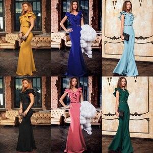 Image 5 - Kadınlar uzun Maxi elbise Mermaid Ruffles akşam parti elbise zarif sarı yeşil kadın sonbahar elbise Vestido de Fiesta elbise MC 2870