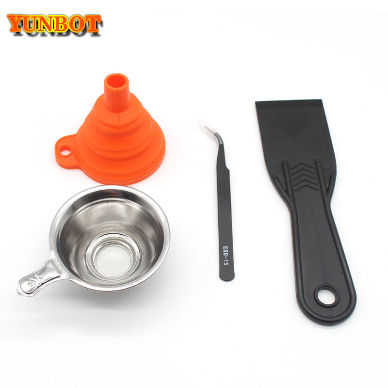 3D Printer parts Silicon Funnel+Metal UV Resin Filter Cup+tweezers+SLA Resin Special tool shovel for
