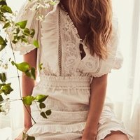 New Arrival V Necck Sexy White Dress Hollow Out Vacation And Holiday Ruffled Style Embroidery Runway Mini Party Women Dress