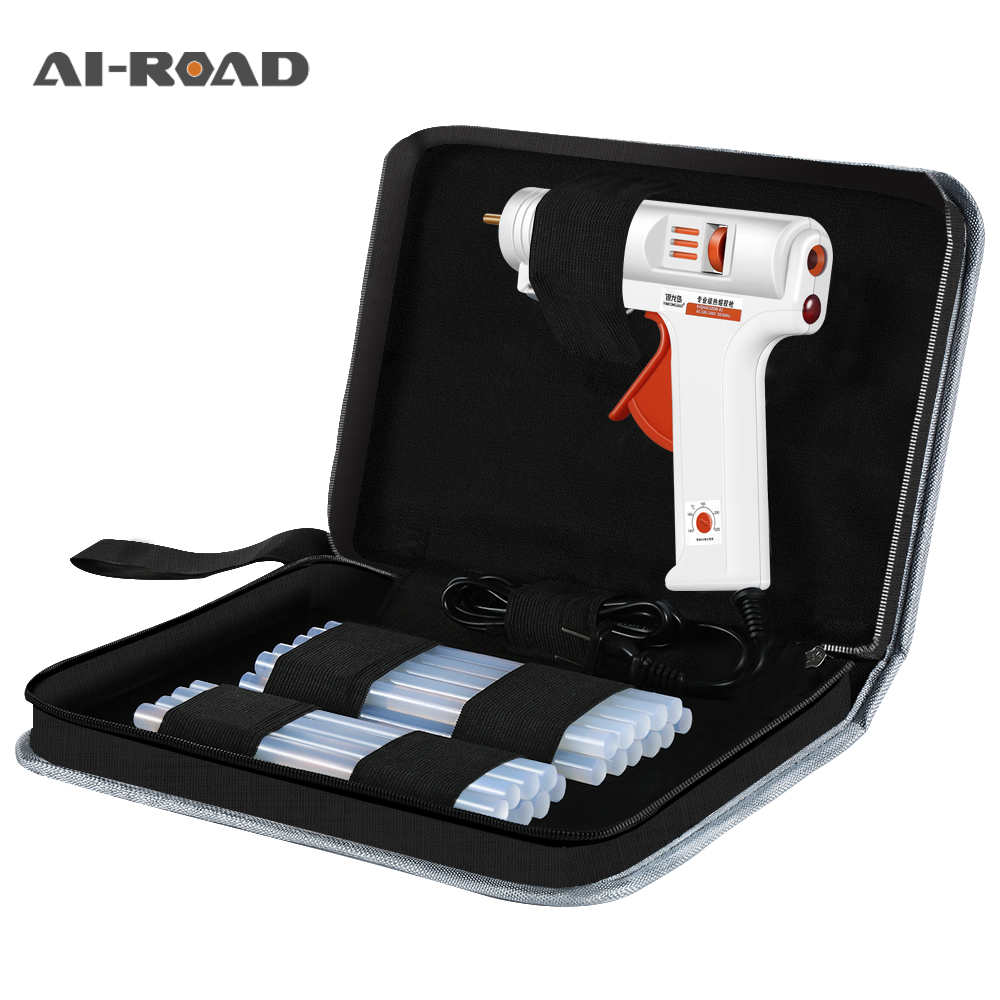 40-150W Industrial Grade Copper Nozzle Hot Melt Glue Gun+20Pc High-purity Glue Sticks Mini Heat Temperature Tool + Case