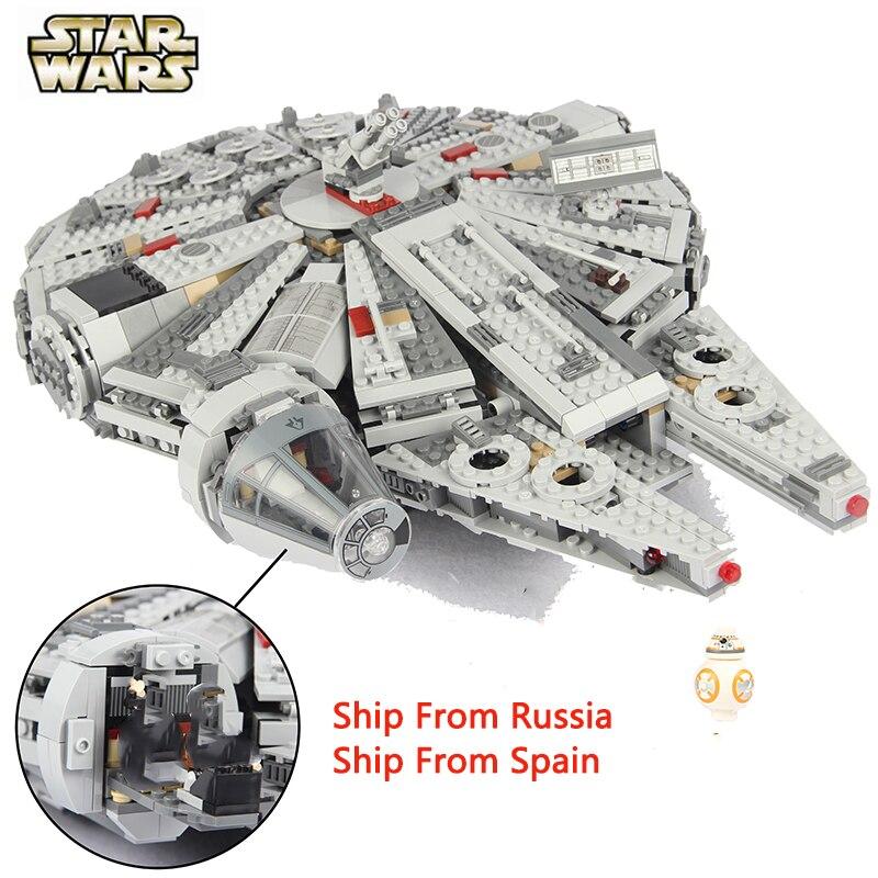 Films 2 Star Wars Force éveille chiffres Falcon Set Starwars film Figuras Compatible Star War bricolage blocs de construction enfants jouets