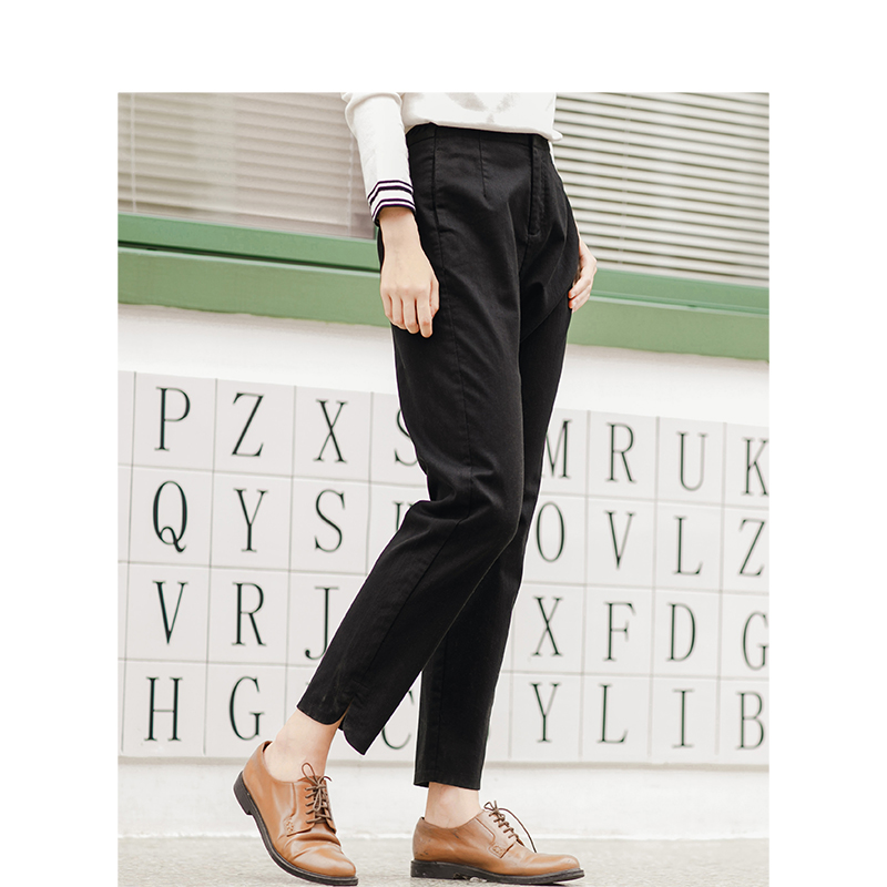 INMAN 2017 Winter New Arrival Pure Color Casual Straight Leg Skinny Black Pencil Trouser