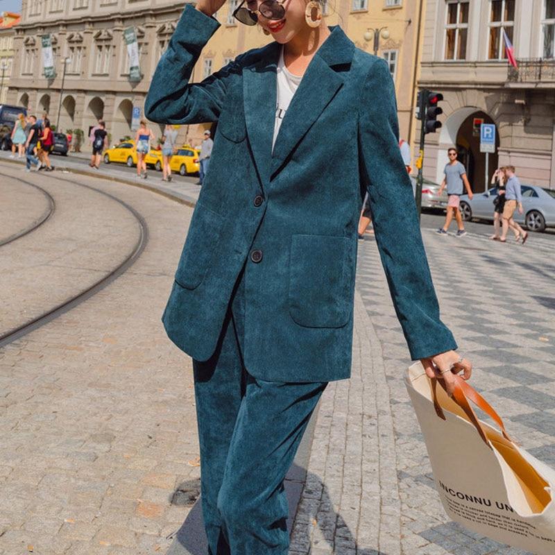 Korean S-XL Plus Size Corduroy Autumn Blazer Women's Suit Long Blazer Coat+Button Pencil Pant Two Piece Set Outfit Spring 2020