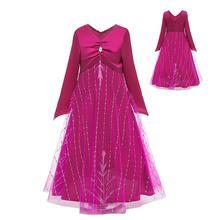 Новая модель: 2 платья Эльзы и принцессы, детские платья с длинными рукавами цельнокроеное рождественское вечернее платье для девочек вечерние костюмы для косплея Сетчатое платье для девочек