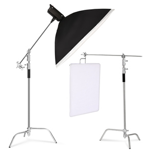 Image 5 - Metal Height 2.6M/8.5FT Adjustable Reflector Tripod Stand with Holding Arm 2pc Grip Head for Photography Studio Video Equipment