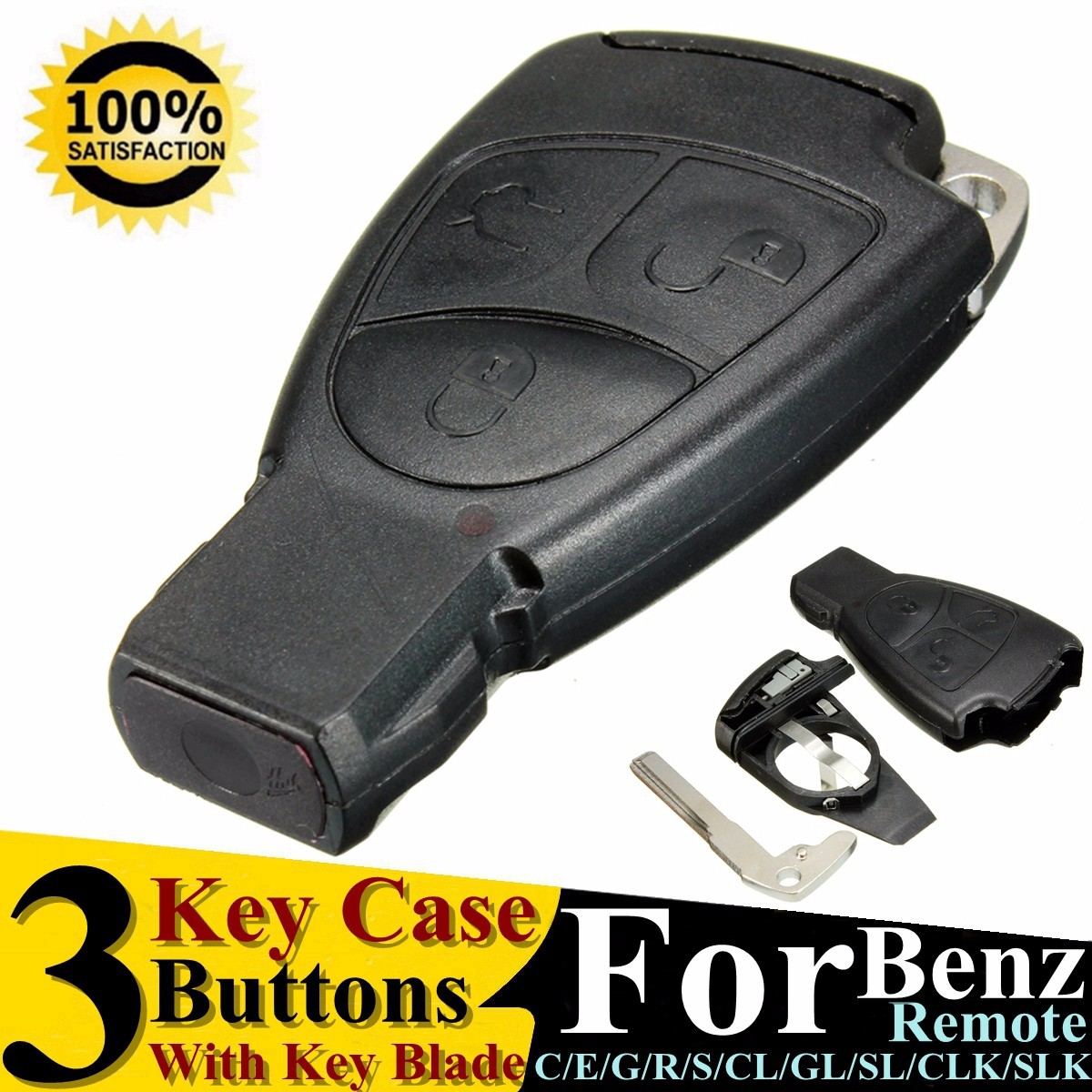 CARCHET 3 Buttons <font><b>Remote</b></font> Auto Smart <font><b>Key</b></font> Case Shell For Mercedes Benz B C E ML S CLK CL GL <font><b>W211</b></font> Chrome Style With Battery Holder image