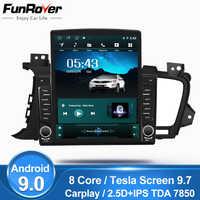 Funrover 9,7 Tesla pantalla Android 9,0 reproductor multimedia de vídeo para coche radio gps navegación para Kia Optima 3 K5 2011-2015 nodvd 2din