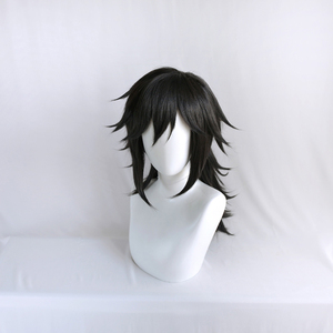 Image 3 - Perruque Kimetsu no Yaiba Tomioka Giyuu, démon Slayer, queue de cheval noire, postiche synthétique résistante à la chaleur pour hommes et femmes