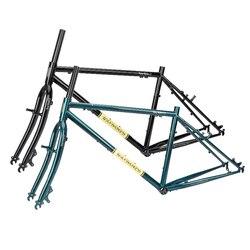 Velocidad del viento Cr-Mo 4130 longrids Marco de ciclocross y horquilla 26 viajes ciclismo Ttouring bicicleta Frameset