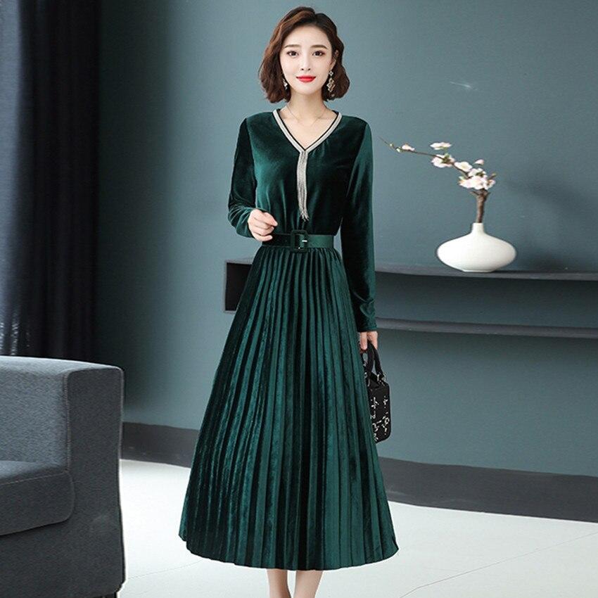 3XL Women Green Black Velvet Dress Winter Dress Long Sleeve Vintage Pleated Dresses Plus Size Women Clothing Vestidos Robe Femme