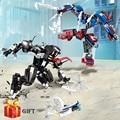 Чудесный комплект супергероев 2020  Человек-паук  мех  строительные блоки  Совместимость с lepining Spiderman Robocop VS Venom Mecha 76115