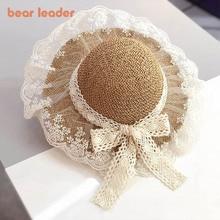 Bear Learder Kids Girls Hats 2021 New Fashion Summer Lace Flowers Caps Breathable Straw Hat Elegant Sunhat Lovely Baby Bonnet