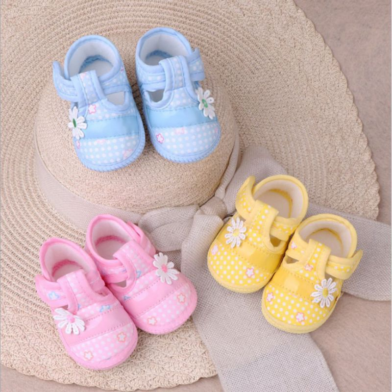 Baby Girl Boy Anti-Slip Single Shoes Bow Square Floral Shoes Newborn Shoes Soft Toddler First Walkers Infant Crib Shoes