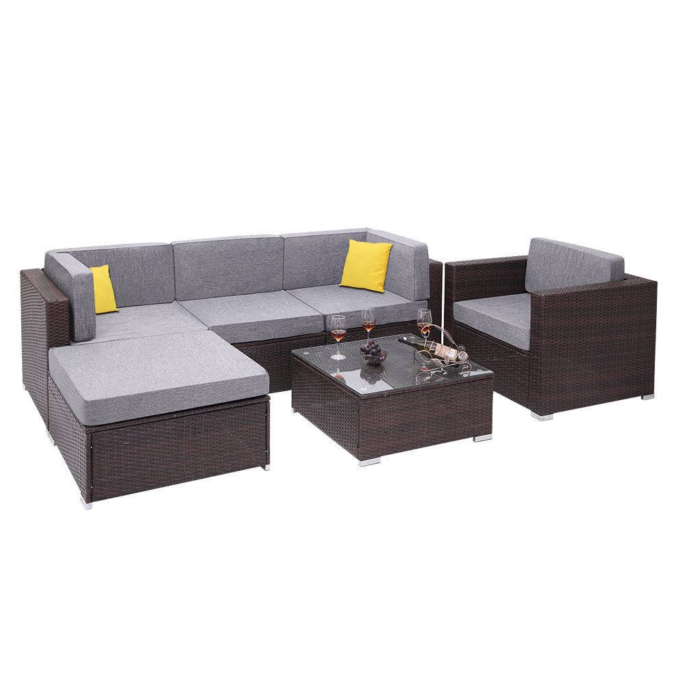 6 Pieces Patio PE Wicker Rattan Corner Sofa Set Outdoor Balcony Chair Sofa Sets For Home Hotel Living Room Decoration