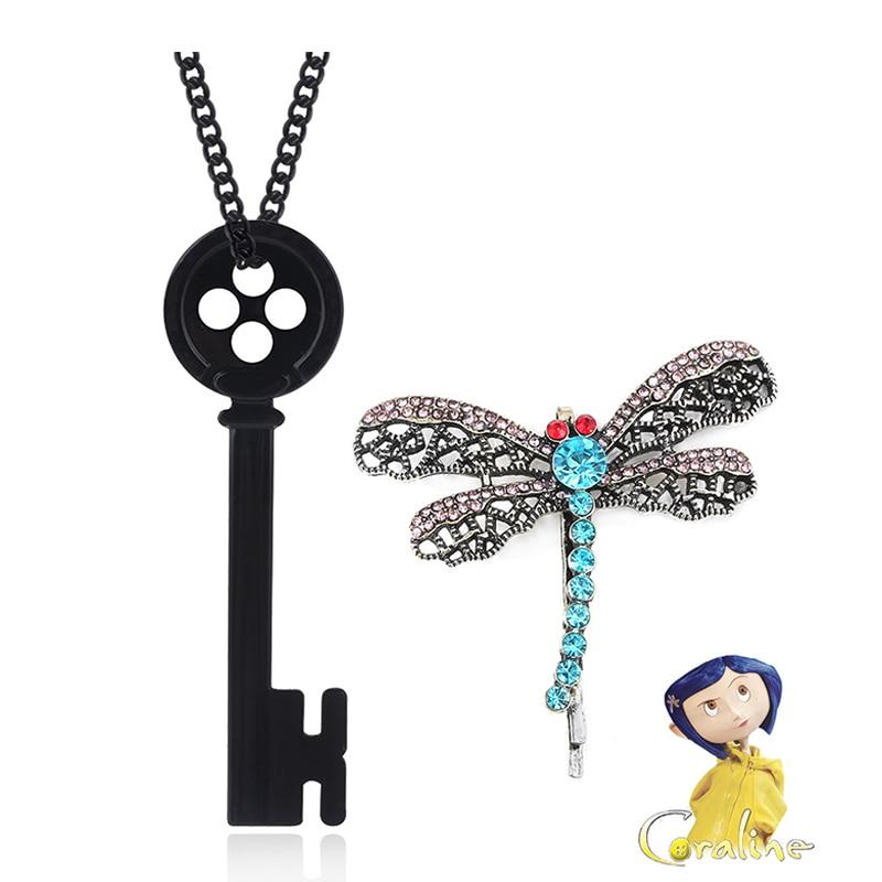 Ожерелье с изображением фильма ужасов Коралина, черная пуговица с изображением героев мультфильмов, ожерелье с воротником в виде черепа, за...