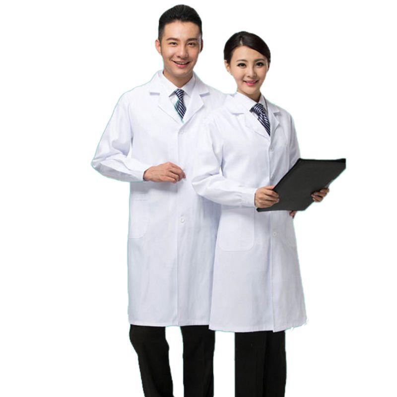 Women Men Professional Medical White Lab Coat Doctor Nurse Long Sleeve Suit Collar Uniform Workwear With Button Elastic Cuff