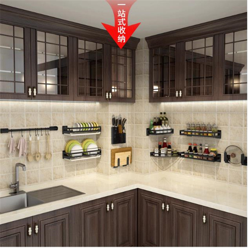 Black Aluminum Alloy Wall Mounted High Quality 304 Stainless Steel Wall Mount Kitchen Storage Rack Dish Drainer Kitchen Shelves