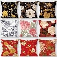Funda de almohada de flores rojas de Silstar Tex funda de cojín de Rosa Vintage para la decoración de la oficina en casa serie de necesidades diarias