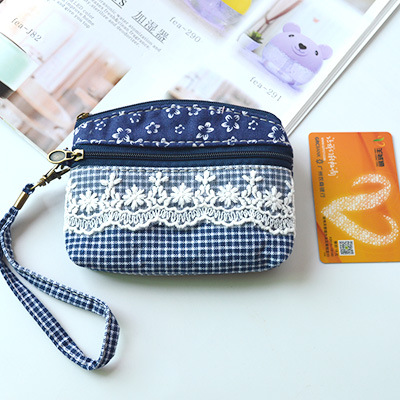 Pastoral Style Double Pull Fabric Carrying Coin Pocket Women's Fabric Coins Key Pure Cotton Linen Small Cloth Bag Purse