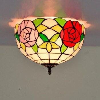 30cm American Pastoral Rose Tiffany Multi-Color Glass Restaurant Bedroom Corridor Corridor Bathroom Glass Ceiling Lamp american pastoral rose three restaurant tiffany pendant lamp