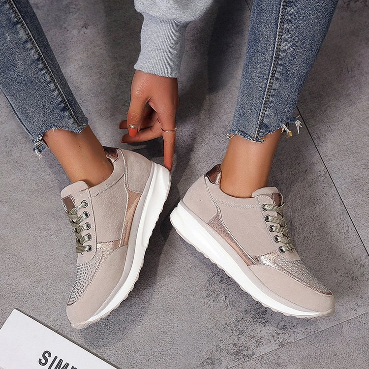 2020Sneakers Spring Autumn Fashion Thick Bottom Round Toe Breathable Platform High Heel Mixed Colors Leisure Women Shoes