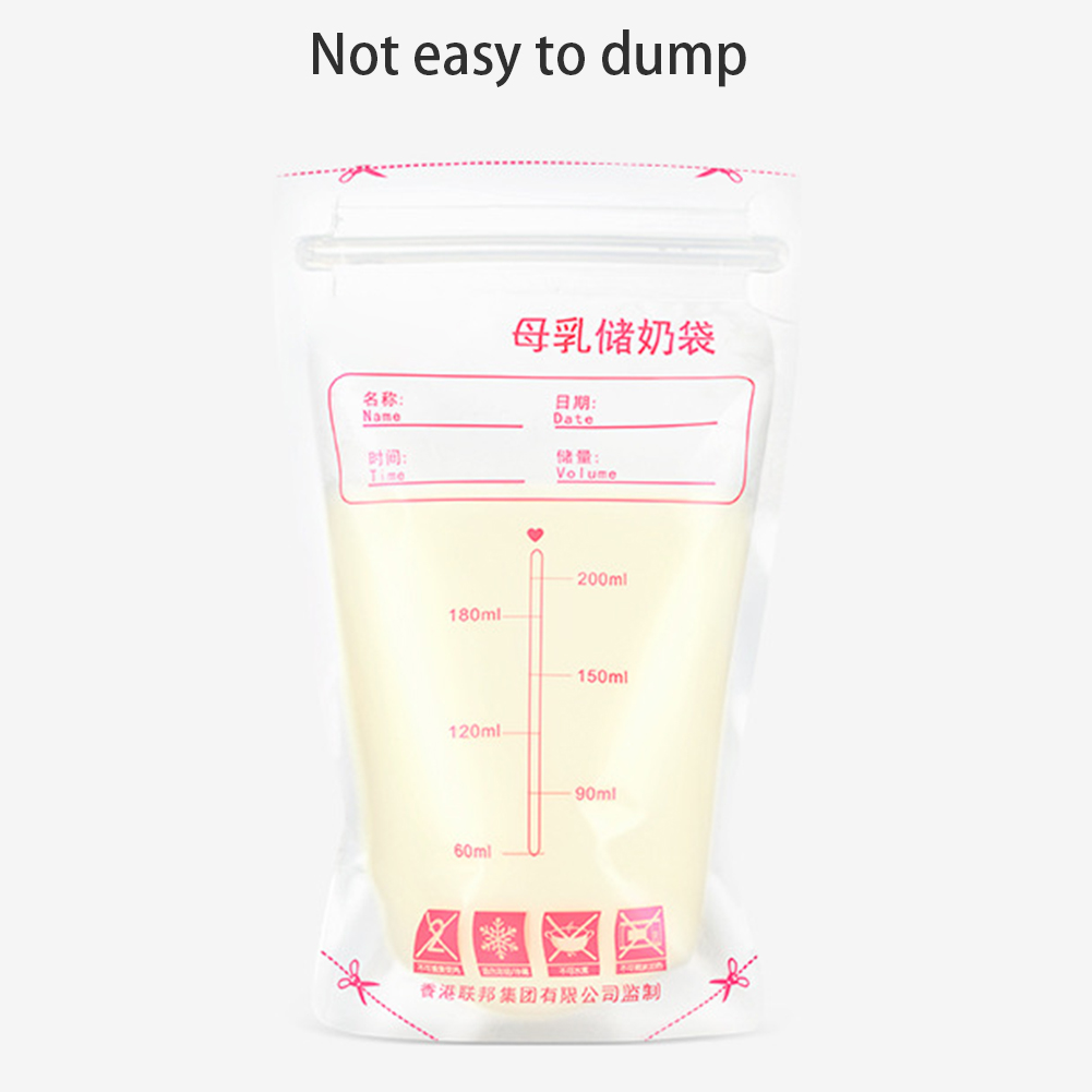 30pcs 200ml Home Baby Care Thickened Bedroom Sealing Strip Breast Milk Storage Bags Feeding Supplies Disposable Safe Food Travel