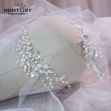 лучшая цена HIMSTORY Angel Handmade Silve Leaf Pearls Headband Bridal  Headwear Hair Accessories Rhinestone Hair  Jewelry