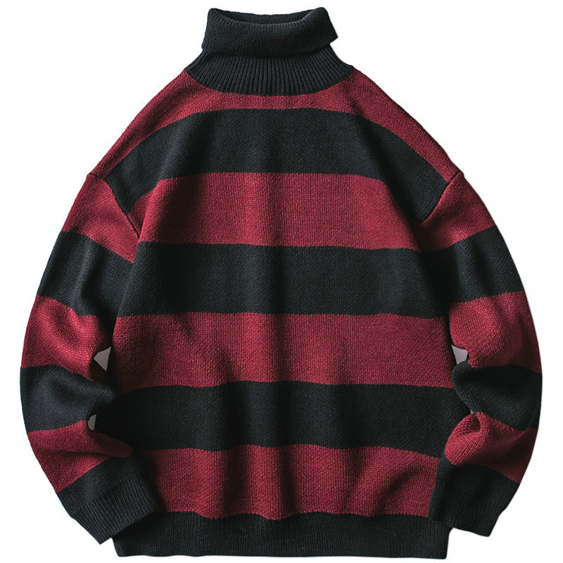 2019 Mens Striped Sweater Pullover Hip Hop Streetwear Retro Turtleneck Sweater Harajuku Knitted Sweaters Black Red Autumn Winter