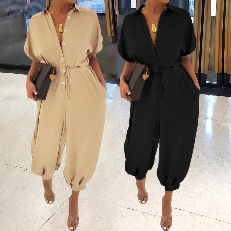 Women's Jumpsuits 2019 Celmia Summer Cargo Pants Palazzo Overalls Playsuits Buttons Short Sleeve Rompers Macacao Feminino S-5XL