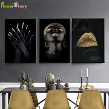 Gold Yellow Indian Woman Wall Art Canvas Painting Abstract Nordic Poster Hand Pictures For Living Room Cuadros Unframed