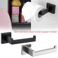 Neue 1pc Matte Schwarze Toiletten Papier Halter Wand Halterung Tissue Rolle Aufhänger 304 Edelstahl Bad Zubehör bad regal
