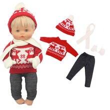 2020 adorável natal camisola terno para 42 cm nenuco boneca de natal 17 polegadas roupas boneca do bebê
