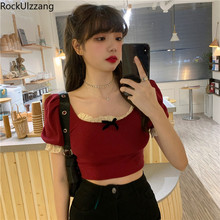 Splicing Renda Bahu Square Busur Seksi Rajut Kaos Lengan Pendek T Shirt Wanita Lolita Gothic Tanaman Top Cute Kawaii tee Korea(China)