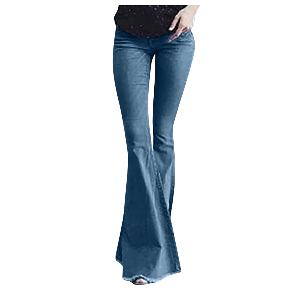 2020 Big Flare Sexy Jeans Pants For Women Stretch High Waist Wide Leg Denim Pant Female Casual Office Trousers Slim Pantalones