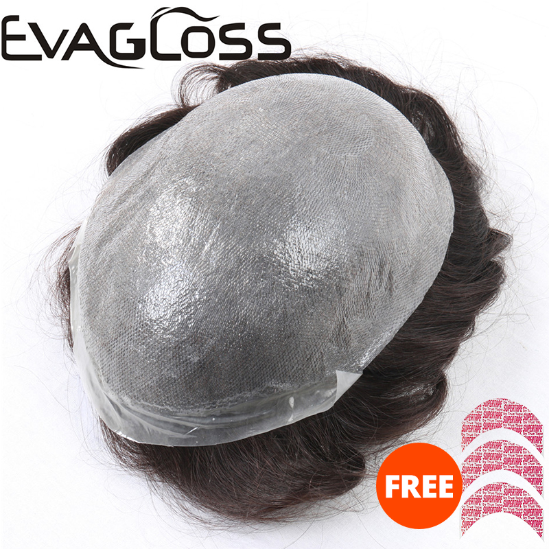 EVAGLOSS Toupee 0.12-0.14mm Super Thin Skin Indian Remy Human Hair Men Wig Replacement System Men's Toupee