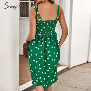 Image 5 - Simplee Polka dot ruffle women holiday dress Spaghetti straps buttons female midi dresses High waist ladies summer vestidos 2020